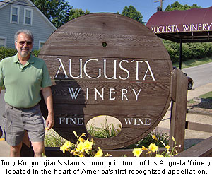 Tony Kooyumjian stands proudly in front of his Augusta Winery located in the heart of America's first recognized appellation