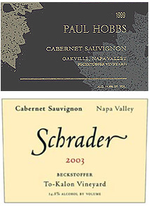 Paul Hobbs and Schrader - To Kalon vineyard-disignated Cabernet Sauvignons – Oakville, Napa Valley