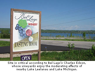 Bel Lago vineyards enjoy the moderating effects of nearby Lake Leelanau