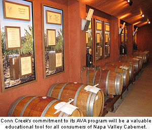 Conn Creek reserves wine from its AVA project as an educational tool