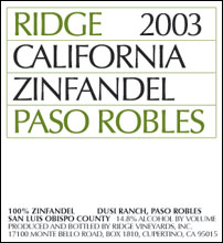 Ridge Vineyards, Dusi Ranch Zinfandel
