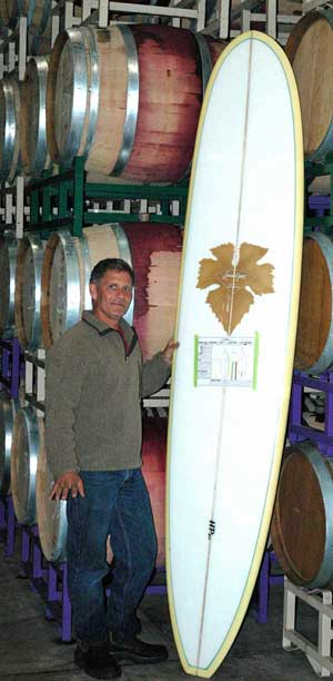 Craig Jaffurs, his wine, his surfboard