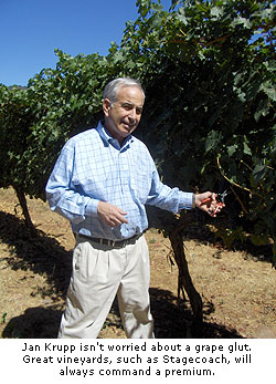 Jan Krupp isn't worried about a grape glut. Grapes from great vineyards are always in demand.