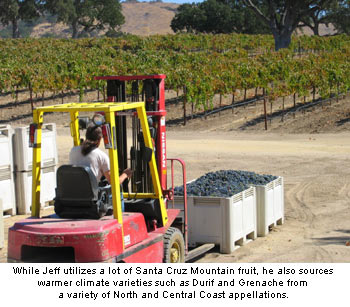 Jeff Emery sources a variety of grapes from in and outside the Santa Cruz Mountains AVA