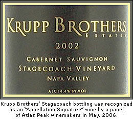 Krupp's Stagecoach Cabernet was recognized as an Appellation Signature wine by AppellationAmerica