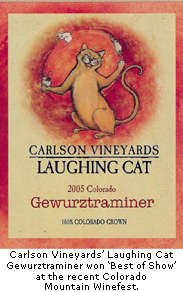 Laughing Cat's award winning Gewurztraminer.