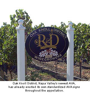 Oak Knoll District Winegrowers standardized AVA sign