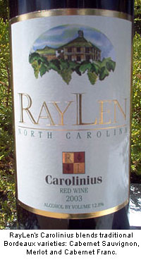 Raylen Carolinius is a traditional Bordeaux blend of Cabernet Sauvignon, Merlot and Cabernet Franc