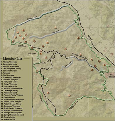 Spring Mountain District AVA map