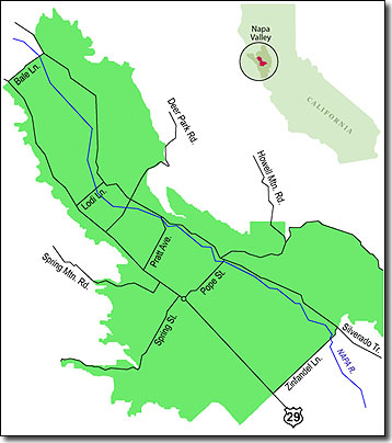 Map of St. Helena AVA, Napa Valley