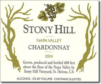 Stony Hill Chardonnay has been labeled as Napa Valley for 55 years