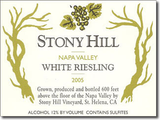 Stony Hill's distinctive terroir is ideal for Chablis style Chardonnay and Riesling