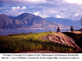 Therapy Vineyard is located along the Naramata Bench