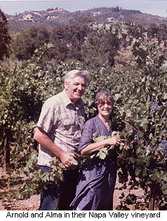 Arnold and Alma Tudal in their Napa Valley vineyard