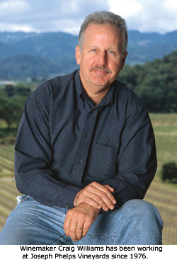 Winemaker, Craig Williams, has been working at Joseph Phelps Vineyards since 1976