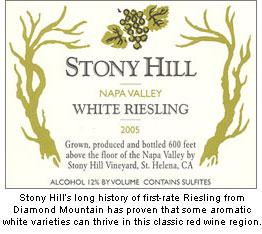 Stony Hill's Riesling has proven the Diamond Mountain District is capable of producing expressive white wines