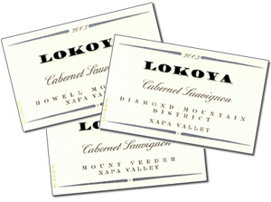 Lokoya's line up of Mountain Cabernets from Napa