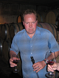 Norman Hardie in his winery barrell cellar