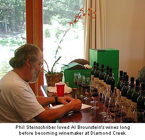 Phil enjoyed the wines of Al Brounstein long before becoming winemaker at Diamond Creek