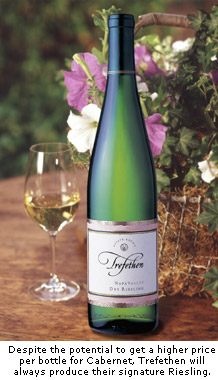 Despite the potential to get a higher price per bottle for Cabernet, Trefethen will always produce their signature Dry Riesling.