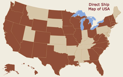 Direct Shipping is allowed in dark brown states