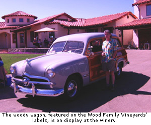 The woody wagon, featured on the Wood Family Vineyards, is on display at winery.