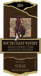 South Coast Winery 2004 Syrah, Wild Horse Peak Mountain Vineyard (South Coast)