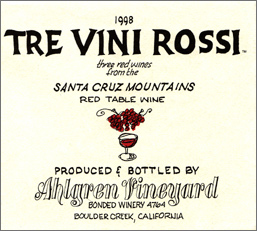 Ahlgren Vineyard 1998 Tre Vini Rossi  (Santa Cruz Mountains)