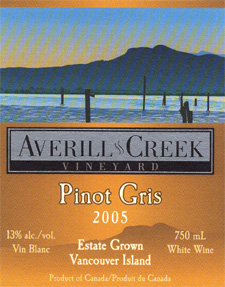 Averill Creek Vineyard 2005 Pinot Gris  (Vancouver Island)