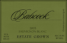 Babcock Vineyards Sauvignon Blanc, Estate