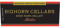 Bighorn Cellars 2003 Merlot, Broken Rock Vineyard (Napa Valley)