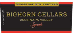 Bighorn Cellars 2003 Syrah, Sugarloaf Mountain Vineyard (Napa Valley)