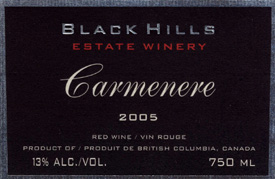 Wine:Black Hills Estate Winery 2005 Carmenère  (Okanagan Valley)
