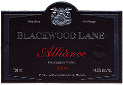 Wine:Blackwood Lane Vineyards & Winery 2004 Alliànce  (Okanagan Valley)