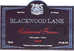 Blackwood Lane Vineyards & Winery 2005 Cabernet Franc, Inkameep Vineyard (Okanagan Valley)