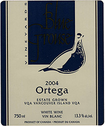 Wine: Blue Grouse Vineyards 2004 Ortega, Estate (Vancouver Island)