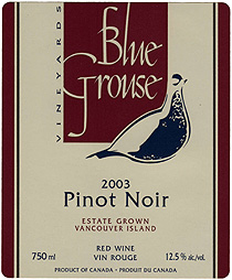 Wine: Blue Grouse Vineyards 2003 Pinot Noir, Estate (Vancouver Island)