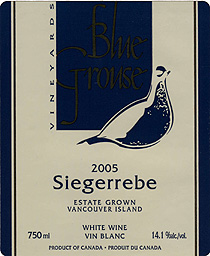 Wine: Blue Grouse Vineyards 2005 Siegerrebe, Estate (Vancouver Island)