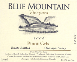 Blue Mountain Vineyard and Cellars 2006 Pinot Gris Cream Label  (Okanagan Valley)