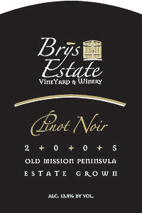 Wine: Brys Estate Vineyard and Winery 2005 Pinot Noir  (Old Mission Peninsula)
