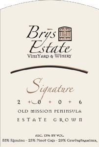 Wine:Brys Estate Vineyard and Winery 2006 Signature White, Estate (Old Mission Peninsula)
