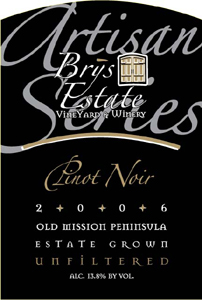 Brys Estate Vineyard and Winery 2006 Pinot Noir - Artisan Series  (Old Mission Peninsula)
