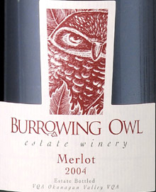 Burrowing Owl Vineyards 2004 Merlot  (Okanagan Valley)