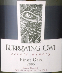 Burrowing Owl Vineyards 2005 Pinot Gris, Estate (Okanagan Valley)