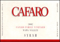 Cafaro Cellars Syrah Napa Valley  2002
