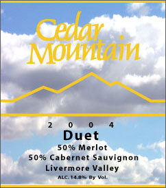 Cedar Mountain Winery 2004 Duet  (Livermore Valley)
