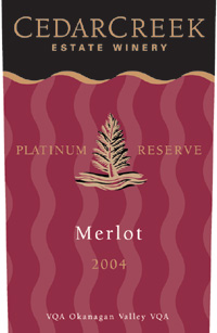 CedarCreek Estate Winery 2004 Merlot Platinum Reserve  (Okanagan Valley)
