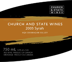 Wine:Church & State Wines 2005 Syrah  (Okanagan Valley)