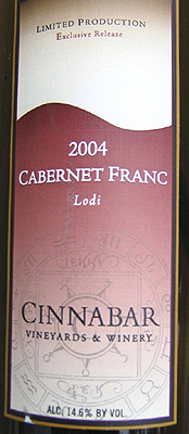 Cinnabar Vineyard and Winery 2004 Cabernet Franc, Lewis Vineyard (Lodi)