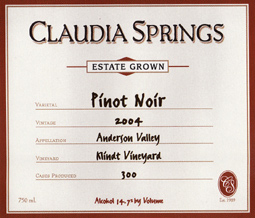 Claudia Springs Winery 2004 Pinot Noir, Klindt Vineyard (Anderson Valley)